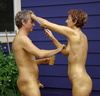Nude body painters in action 86